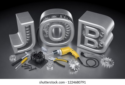 """Repair Technician Job. Set of locksmith's / mechanic's tools and machine parts on reflective background in front of JOB word. 3d rendering graphic composition on the subject of """"Employment And Labour"""""""