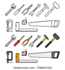 Repair tools and construction tools icon. Working tools flat icons isolated on white background