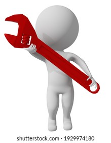 repair wrench toon 3d white man character isolated fix  maintainance - 3d rendering