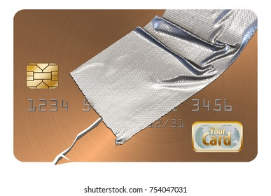 Repairing your credit is the theme of this illustration where a credit card is repaired with duct tape. Credit score and credit restoration is the theme.