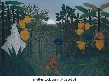 The Repast of the Lion, by Henri Rousseau, 1907, French Primitivism, painting, oil on canvas. The self-taught naive artist based the exotic vegetation on studies that he made in Paris\x90s botanical