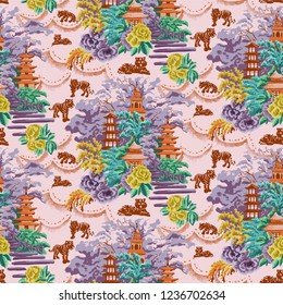 Repeat Chinoiserie pattern with bright colors, tigers and traditional palaces.