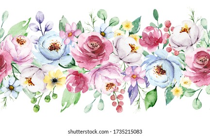 Repeat floral border with flowers, watercolor painting, peonies bouquet for greeting card, invitation, poster, wedding decoration and other printing images. Illustration isolated on white.