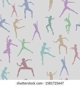 A repeatable pattern of silhouetted dancers in different poses and shades of pastel colors on a light gray background