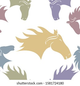 A repeatable pattern of silhouetted horses heads in different pastel shades on a white background