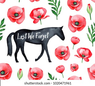"""Repeatable, seamless watercolour pattern with red poppy flower, black walking horse silhouette, text quote """"Lest We Forget"""" and green leaves. Hand drawn water color isolated elements, white backdrop."""