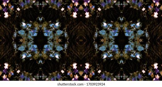 Repeated Dirty Textile Design. Handmade Vintage. Ink Splash Paint. Glow Dark Background. Acrylic Graffiti. Aztec Ornament. Ornamental Dirty Artistic Pattern. Endless Spanish Mosaic.