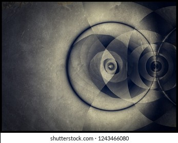 Repeating circles and spiral with daguerreotype finish create a 3D effect in this fractal