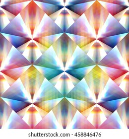 Repeating Diamond Pattern filled with Prismatic Reflections and Grids