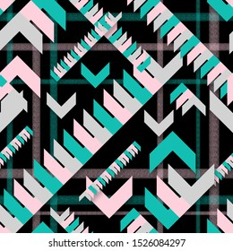 A repeating, endless pattern in a cage with pointing arrows. Green and pink shapes, triangle on a black background. Fashionable color mountain blue and metallic