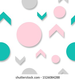 Repeating, endless pattern of pointing arrows and balls. Green and pink circle and triangle shapes on a white background. Fashionable color mountain blue and metallic