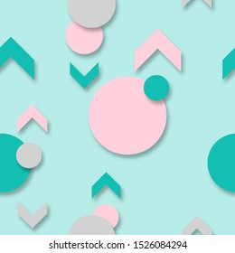 Repeating, endless pattern of pointing arrows and balls. Green and pink circle and triangle shapes on a blue background. Fashionable color mountain blue and metallic