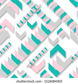 Repeating, endless pattern of pointing arrows. Green and pink triangle shapes on a white background. Fashionable color mountain blue and metallic