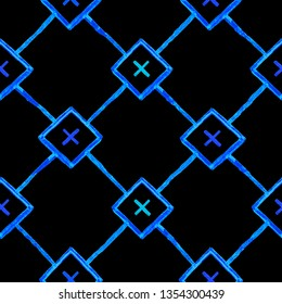 Repeating geometric tiles with blue squares and rhombuses and crosses. on black background. Seamless pattern. Modern stylish texture.
