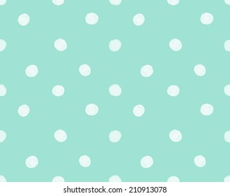 Repeating Mint Green Painted Polka Dot Pattern Background.