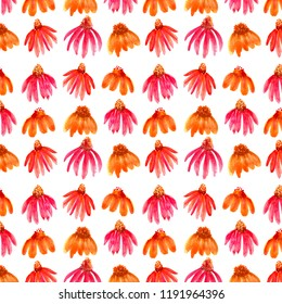 A repeating pattern of bright watercolor cone flowers.