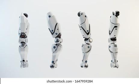 Replacement robotic leg part for transplantation, 3d rendering
