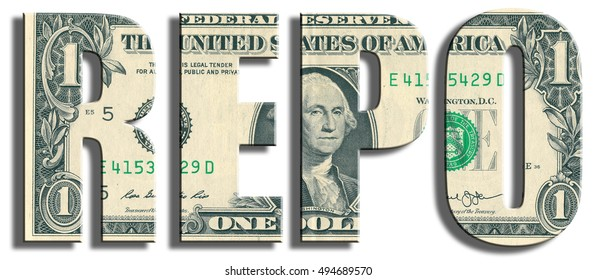 REPO - Repurchase Agreement - type of financial transaction. US Dollar texture.