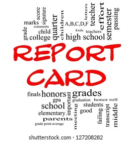 Report Card Word Cloud Concept in red caps with great terms such as children, grades, kids, school and more.