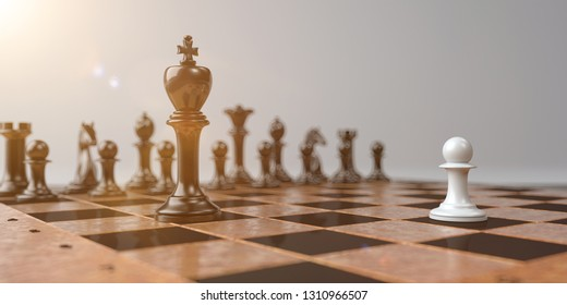 A representation with chessmen, David against Goliath. 3d illustration.