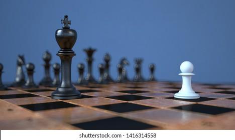 A representation with chessmen, David against Goliath. 3d illustration.