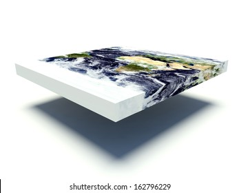 Representation of a flat Earth model on white background with shadow. 3d render. Elements of this image furnished by NASA.