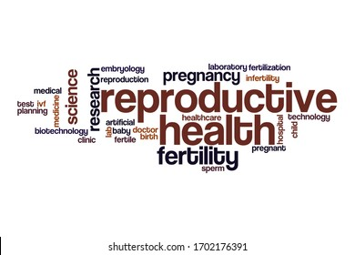 Reproductive health word cloud concept on white background