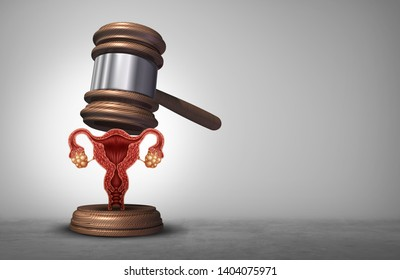 Reproductive rights and abortion law or women health justice as a legal concept for reproduction politics to decide laws concerning pro life or choice with 3D illustration elements.