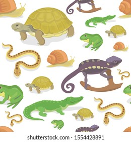 Reptile and amphibian seamless pattern on white background. Crocodile turtle snake chameleon