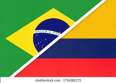 Republic of Brazil and Colombia, symbol of national flags from textile. Relationship, partnership and championship between two American countries.