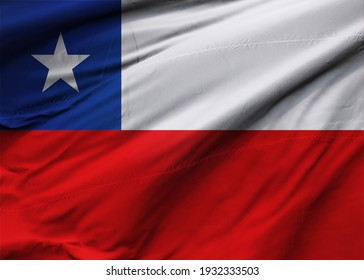Republic of Chile flag blowing in the wind. Background texture. Santiago. 3d Illustration. 3d Render.