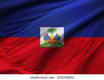 Republic of Haiti  flag blowing in the wind. Background texture. Port-au-Prince. 3d Illustration. 3d Render.