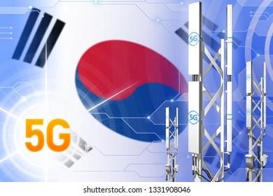 Republic of Korea (South Korea) 5G network industrial illustration, huge cellular tower or mast on digital background with the flag - 3D Illustration