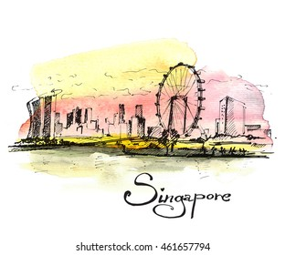 Republic of Singapore. Hand drawn sketch on colorful watercolor background.