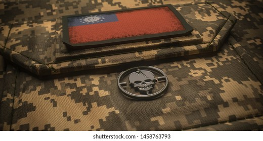 Republic of the Union of Myanmar army chevron on ammunition with national flag. 3D illustration