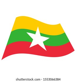 Republic of the Union of Myanmar(Burma). National flag. Abstract concept, icon. Raster illustration on white background.