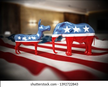 Republican and Democrat party political symbols elephant and donkey on American flag. 3D illustration.