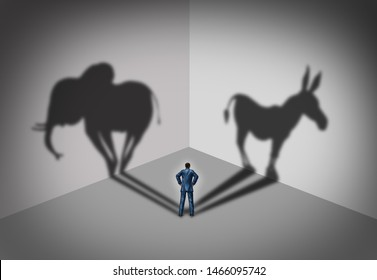 Republican and democrat voter concept of an American election political identity campaign choice as two United States political parties as an elephant and donkey in a 3D illustration style.