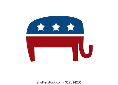 Republican Elephant isolated on white background