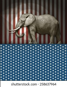 Republican Elephant on a Stars and Stripes Stage