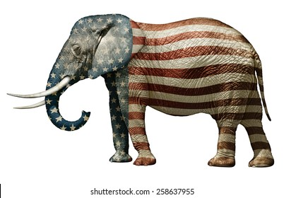 Republican Elephant Painted With Stars and Stripes