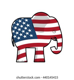 Republican Elephant. Symbol of political party in America. state illustration for elections in US. USA Flag