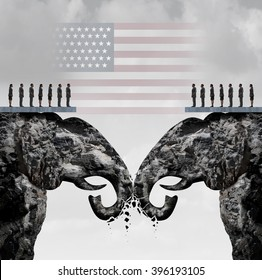 Republican fight concept as two mountain cliffs shaped as an elephant symbol clashing head to head damaging the party as an American political nomination symbol as a 3D illustration.