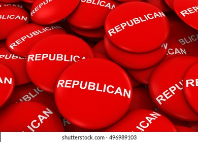 Republican Party Campaign Buttons in a Pile - 3D Illustration