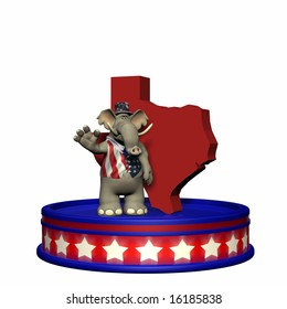 Republican Platform - Texas GOP Political Elephant standing on a red, white, and blue platform in front of a 3D Texas. Isolated on a white background.