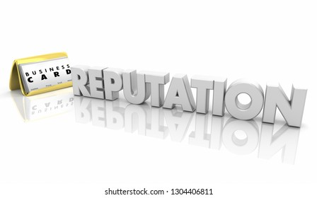 Reputation Business Cards Word 3d Illustration