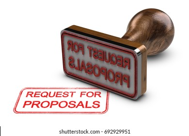 Request for proposals printed on a white background, with rubber stamp, RFP concept. 3D illustration