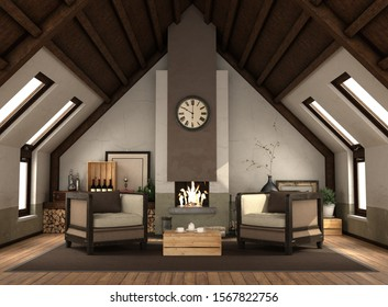 Rertro attic with fireplace with vintage furniture wooden ceiling - 3d rendering
