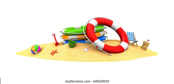 Rescue circles in the sand. 3d illustration