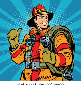 Rescue firefighter in safe helmet and uniform pop art retro . The professional rescuer